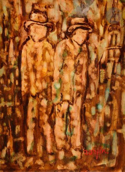 Faïbich Schraga ZARFIN (1899-1975) Deux hommes...