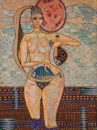 Jacques ARLAND (1929-2018) Femme aux poissons,...