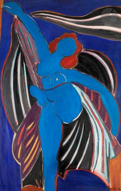 Marcel BURTIN (1902-1979) Nu bleu, 1948 Huile...