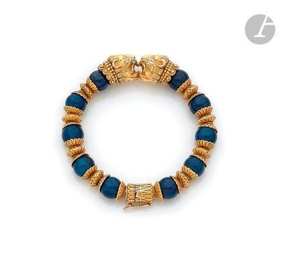 ZOLOTAS Bracelet articulé de billes de jaspe...