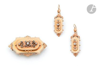 18K (750) gold half set including a rectangular brooch with pearls in a leaf decoration,...