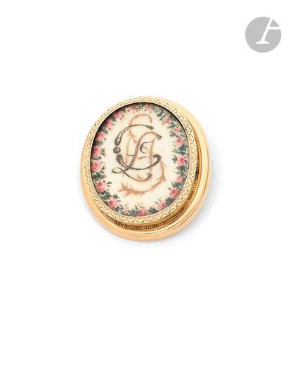 Broche en or 18K (750), ornée d'une miniature...