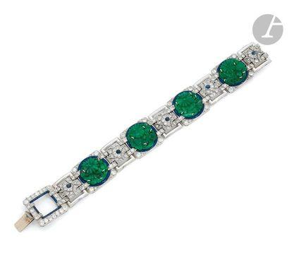 Bracelet en platine et en or gris 18K (750),...