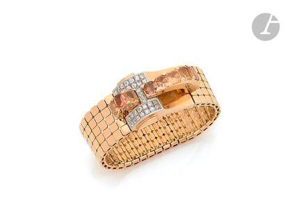 Bracelet ruban souple en or 18K (750), les...