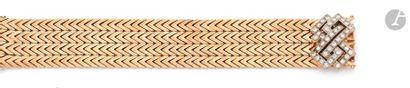 Bracelet ruban en or 18K (750) articulé de...