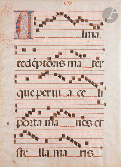 [ENLUMINURE]. Feuillet d'un livre de chœur...