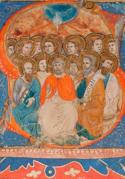 [ENLUMINURE]. Initiale «S» historiée. Pentecôte...