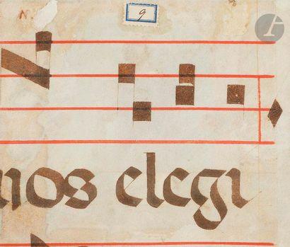 [ENLUMINURE]. Initiale «D?» historiée. Saint Laurent Martyr Fragment extrait d'un...