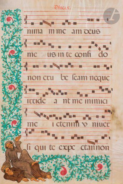 [ENLUMINURE]. Feuillet de livre de chœur...