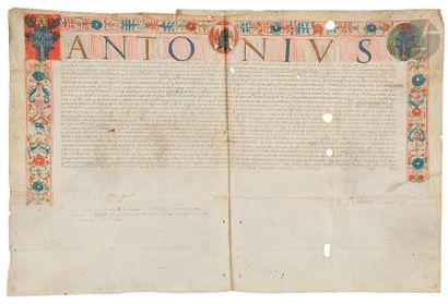 [ENLUMINURE]. Charte enluminée avec armes....