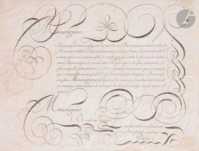 [CALLIGRAPHIE]. [PETRÉ]. Exercice de calligraphie...