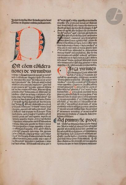 THOMAS D'AQUIN (Saint). Summa, secunda secundae. Venise:[Leornhard Wild], 1479....