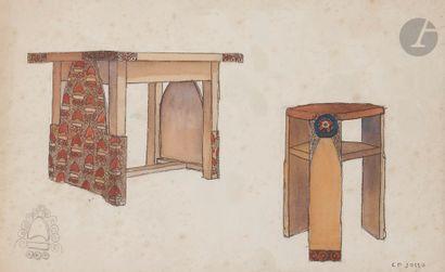 Camille Paul JOSSO (1902-1986) Étude de mobilier...