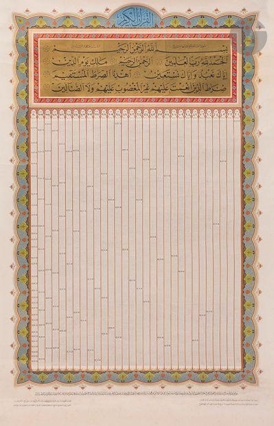 Coran lithographié, format affiche, Égypte,...