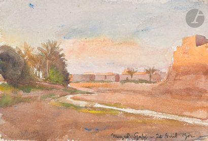 GILLIARD Oasis de Meuzel Gabès, 1902 2 aquarelles....
