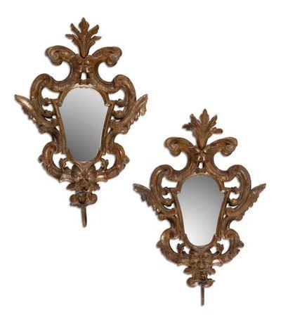 Paire de miroirs porte-lumière en bois argenté,...