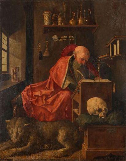 École ANVERSOISE du XVIe siècle Saint Jérôme...