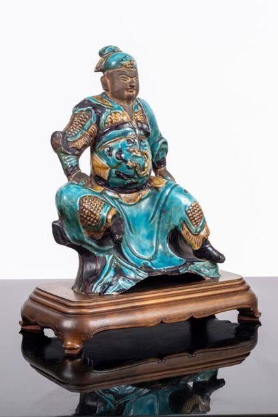 Chine Statuette de Guandi en terre cuite...
