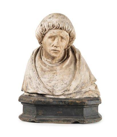 Buste de saint moine en pierre calcaire sculptée...
