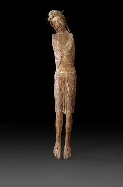 Grand Christ en noyer sculpté avec restes...