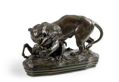 Antoine-Louis Barye (1796-1875) Tigre surprenant...