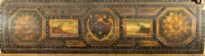 Chest in painted fir wood in the shape of a sarcophagus, decorated with coats of...
