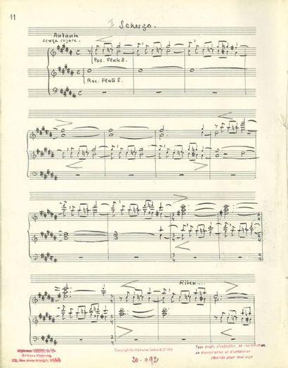 ALAIN Jehan (1911-1940). MANUSCRIT MUSICAL autographe signé, «Jehan Alain» Suite...
