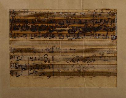BACH Johann Sebastian (1685-1750). MANUSCRIT MUSICAL autographe, fragment de la...