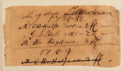 BACH Johann Sebastian (1685-1750). P.S. «J.S. Bach» avec 3 mots autographes, [Leipzig...