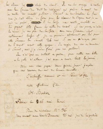 BERLIOZ Hector (1803-1869). L.A.S. «H. Berlioz», Paris 16 mai [1828], à son père...