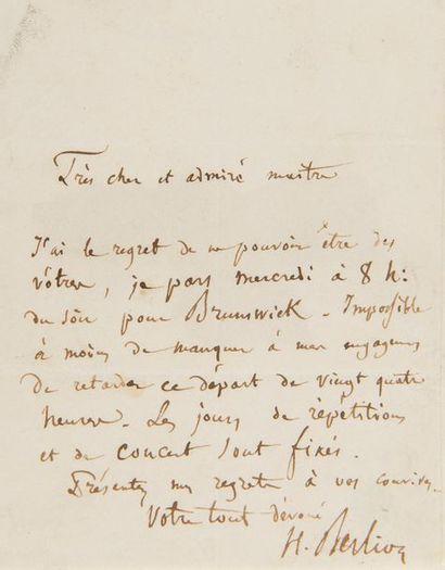BERLIOZ Hector (1803-1869). L.A.S. «H. Berlioz», [Leipzig 28 février ou Berlin...