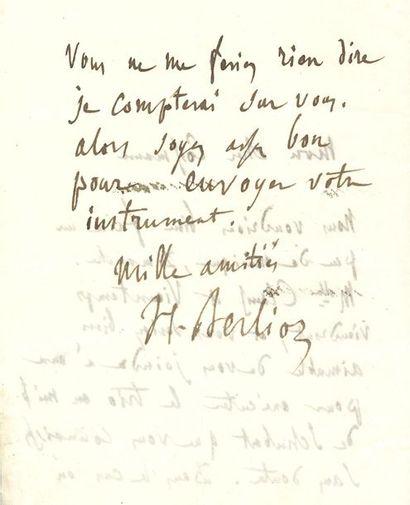 BERLIOZ Hector (1803-1869). L.A.S. «H. Berlioz», [Paris vers le 17 décembre 1852],...
