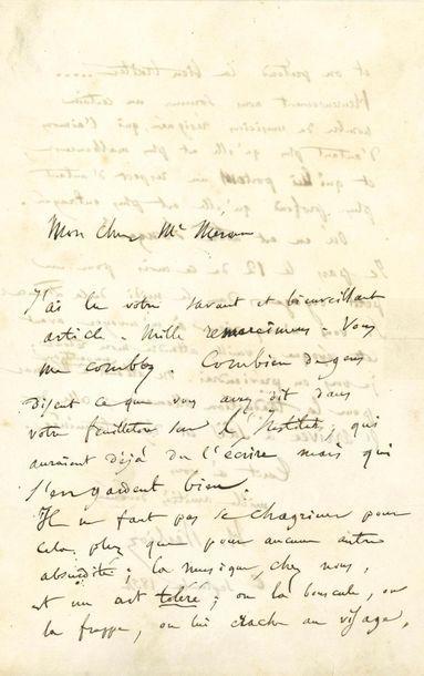 BERLIOZ Hector (1803-1869). L.A.S. «H. Berlioz», 6 septembre 1854, à Amédée MÉREAUX;...