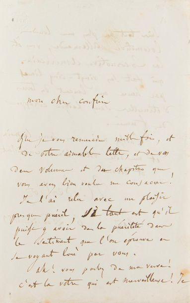BERLIOZ Hector (1803-1869). L.A.S. «H. Berlioz», 6 février 1859, à Alfred-Auguste...