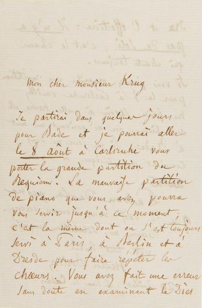 BERLIOZ Hector (1803-1869). L.A.S. «Hector Berlioz», Paris 20 juillet [1861],...
