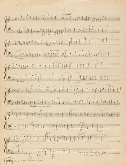 BERNSTEIN Leonard (1918-1990). MANUSCRIT MUSICAL autographe signé, Trio op.2 «Violin»,...
