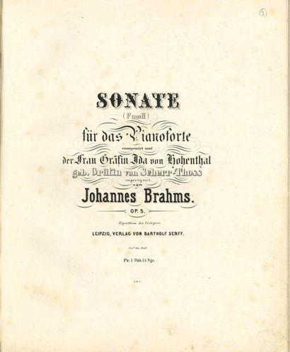 BRAHMS Johannes (1833-1897). Sonate (Fmoll)...