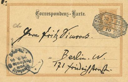 BRAHMS Johannes (1833-1897). L.A.S. «J.Br», [Karlsbad 28 septembre 1896], à Fritz...