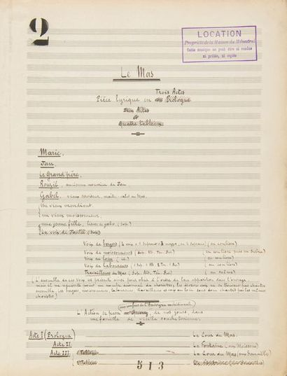 CANTELOUBE Joseph (1879-1957). MANUSCRIT...
