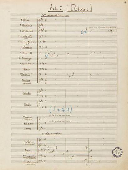 CANTELOUBE Joseph (1879-1957). MANUSCRIT MUSICAL autographe signé «J.Canteloube»,...