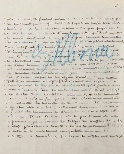 DEBUSSY Claude (1862-1918). MANUSCRIT autographe signé «Claude Debussy», La Musique....