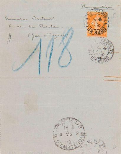 DEBUSSY Claude (1862-1918). L.A.S. «Claude Debussy», Mercredi 18-IX-1912, à l'homme...