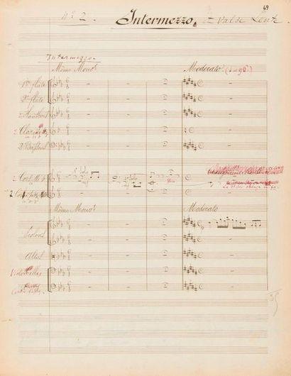 DELIBES Léo (1836-1891). MANUSCRIT MUSICAL avec corrections et annotations autographes,...