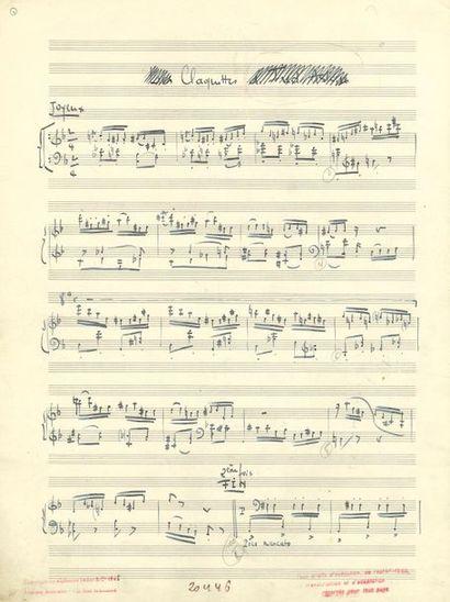 DUTILLEUX Henri (1916-2013). MANUSCRIT MUSICAL autographe signé «Henri Dutilleux»,...