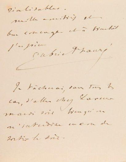 FAURÉ Gabriel (1845-1924). 2 L.A.S. «Gabriel...