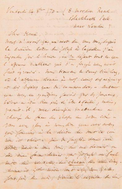 GOUNOD Charles (1818-1893). L.A.S. «Ch. Gd», Londres 4 octobre 1870, à son parent...