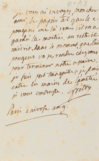 GRÉTRY André (1741-1813). L.A.S. «Grétry»,...