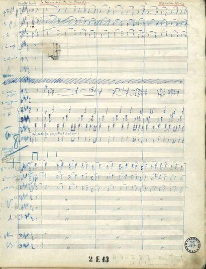 HAHN Reynaldo (1874-1947). MANUSCRIT MUSICAL...