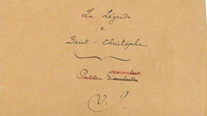 INDY Vincent d' (1851-1931). MANUSCRIT MUSICAL...