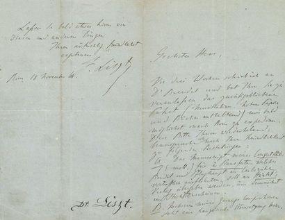 LISZT Franz (1811-1886). L.A.S. «F. Liszt»,...